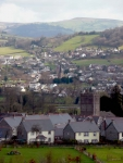 The view over Llangattock and Crickhowell from the Monmouthshire and Brecon Canal