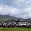 The view over Crickhowell looking towards Table Mountain from the bridge over the River Usk
