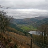 The view along the valley of the Talybont Reservoir