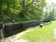 A lock on the Rochdale Canal, near the end of day 3 at Hebden Bridge