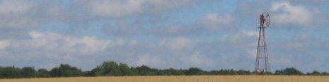 Wind pump in a field of wheat, Sussex July 07