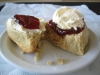 Debate rages over which should be applied first, the cream or jam. This shows both variations