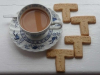 Yorkshire Tea Biscuits, showing their distinctive T shape