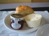 Cream tea, as served at the Yorkshire Sculpture Park, with strawberry jam, clotted cream and a plain scone
