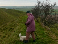 Maureen (and Rosie) at Maiden Castle