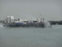 A hovercraft leaving Ryde on the IoW