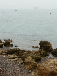 The view across Ryde Sands in the morning mist at high tide