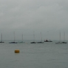 Moored boats in the morning mist off Cowes