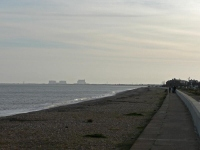 Looking back towards Dungeness from Dymchurch at the end of the first day\'s walk