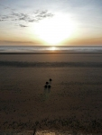 The sunrise over the beach at Dymchurch at the start of the second morning