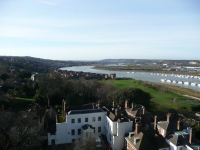 The view inland along the River Medway from the top of Rochester Castle