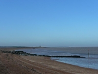 Minnis Bay and the remains of St Mary\'s Church at Reculver