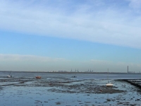 The view across mudflats to the Isle of Sheppey
