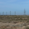 The powerlines from the two nuclear power stations at Dungeness