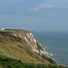 The view along the cliff tops - the ships were leaving / entering Dover harbour