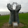 Hands & Molecule by David Barnes on the cliff top at Ramsgate