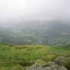Day 1 - The view from Stone Arthur into the valley of Grasmere.  As we ate lunch the cloud lifted and cleared slightly