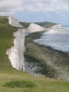View along Seven Sisters with Birling Gap and Belle Tout lighthouse