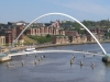 Bridges of Newcastle. Gateshead Millenium Bridge from the roadway deck of the Tyne Bridge