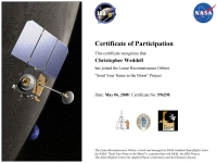 LRO spacecraft mission certificate