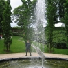 One of the side pools with fountain alongside the grand cascade at Alnwick Garden