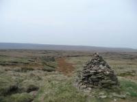 A cairn and path near Grains Moss