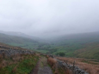 Descending out of the low cloud from Great Shunner Fell into Thwaite