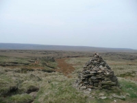 A cairn and path near Grains Moss