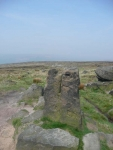 Aiggin Stone at the end of Blackstone Edge, which marks a sharp turn in the Pennine Way