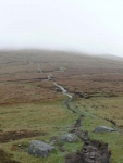 The way up to Great Shunner Fell shrouded in mist and low cloud