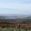 The view back over the Walshaw Dean Reservoirs