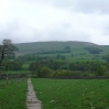 The path north out of Hawes at the start of day 9, the first day with rain