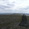 The view back from Cross Fell to the radar dome of Great Dun Fell