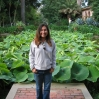 Rosminah at Lotusland - with a background of lotus