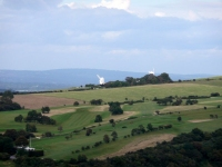 A view back to the Clayton Windmills (Jack and Jill)
