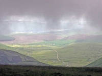 The view East from the mist on top of Lowther Hill (the Southern Upland Way\'s highest point)