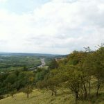 View looking west along the North Downs with the M25
