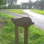 Signpost pointing the way across a golf course at Forest Row